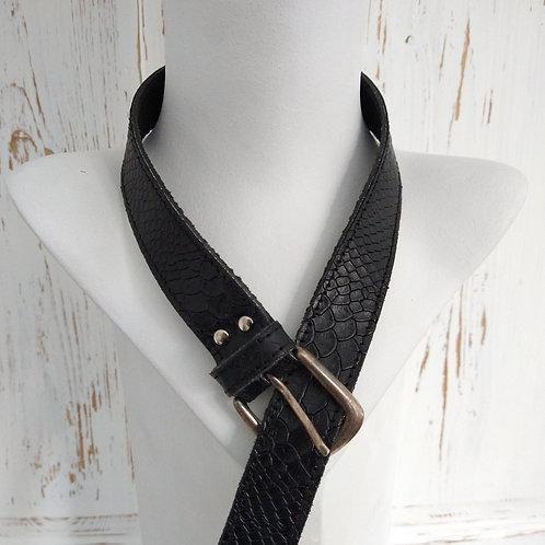 Black Leather Textured Belt