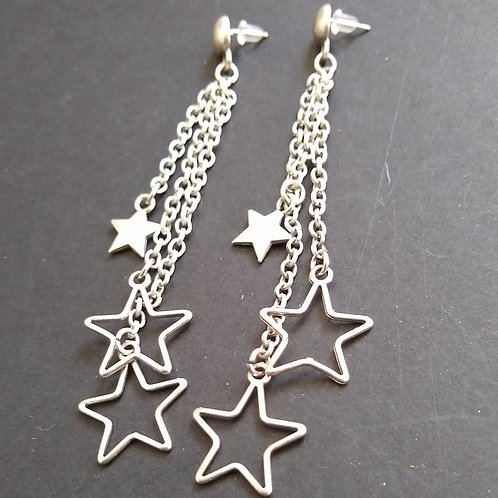 Hatti Long Mixed Stars Earrings