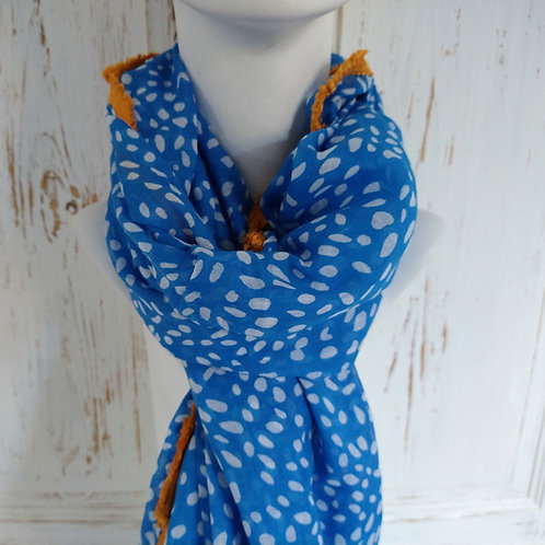 Speckled Blue Fringed Cotton Scarf