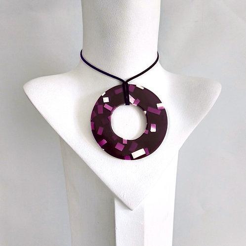 Purple & White Splatter Pattern Necklace
