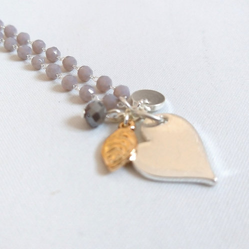 Delicate Heart and Charm with Grey Beads Short Necklace