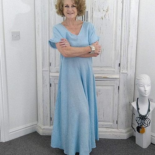Powder Blue Shaped Linen Culottes