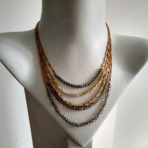 Envy Layered Grey and Gold Short Necklace