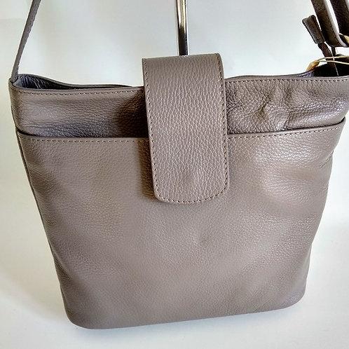 Soft Grey Leather Shoulder Bag