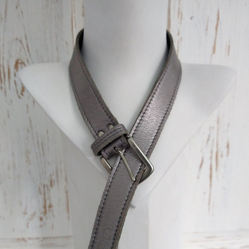 Dark Grey Metal Effect Leather Belt