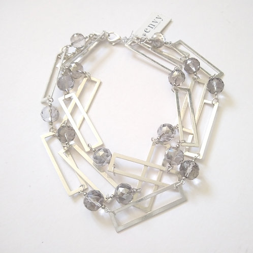 Envy Large Oblong Metal and Bead Short Necklace