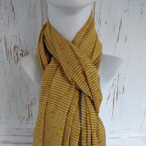 Mustard & Grey Stripe with Grey Cotton Scarf