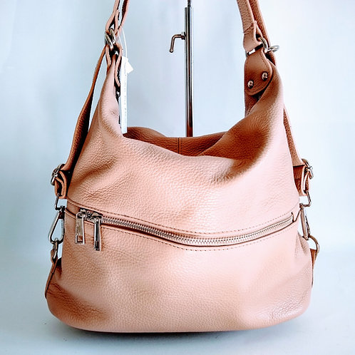 Dusty Pink Leather Shoulder Bag