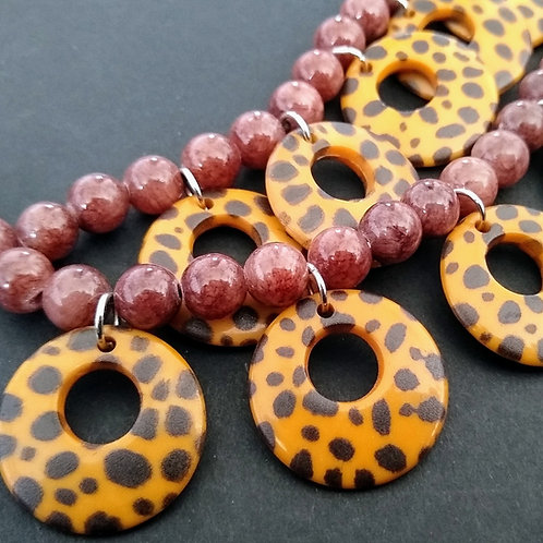 One Button Double Layer Brown Mix Necklace