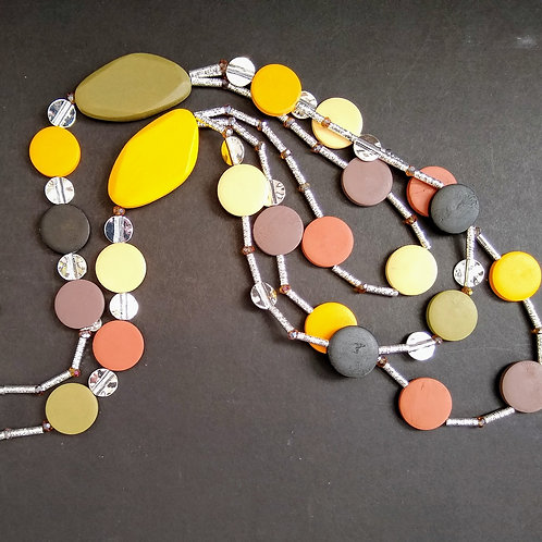 JCUK Three  strand wood and silver necklace