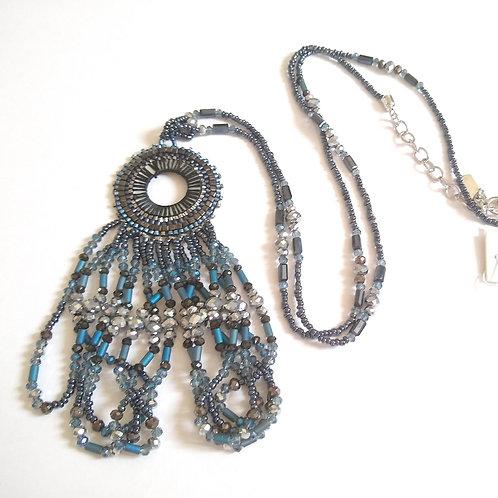 Blue Seed Bead Tassel Necklace