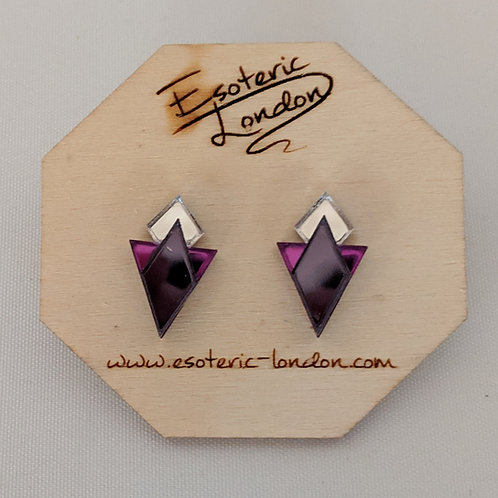 Esoteric Art Deco Triangle Earrings