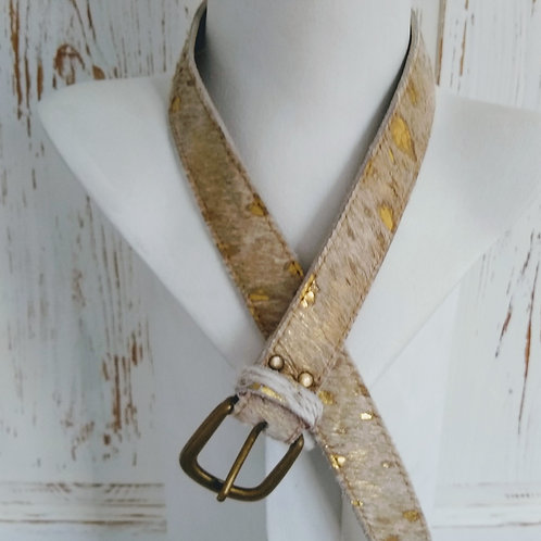 Gold & Metallic Faux Fury Effect Leather Belt