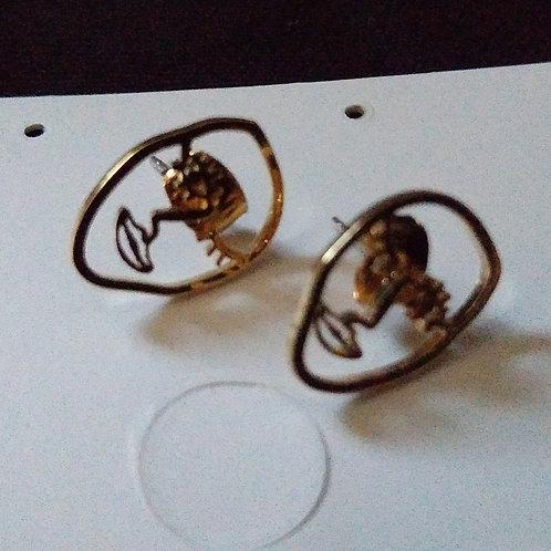 Mini Face Gold Earrings