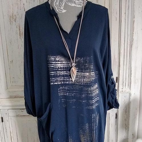 Fabien Silver Foil Abstract Print Dress