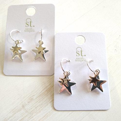Double heart on little hoop earrings