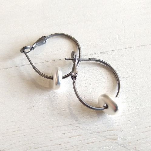 Hoops with Rose, Silver or Gold.