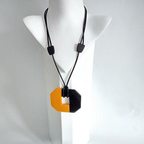 Yellow & Black Adjustable Acrylic Necklace