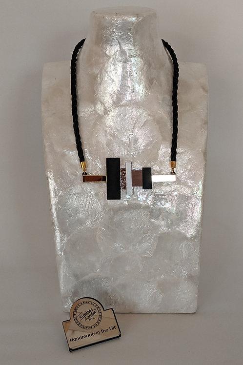 Esoteric Art Decco Block and Bar Short Necklace