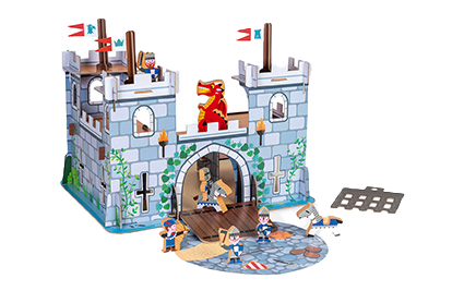JANOD - Story fortified castle - Card world to build - Cardboard and wooden toy