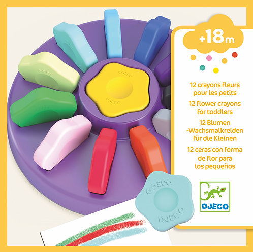 Djeco - 12 flowers crayons for toddlers