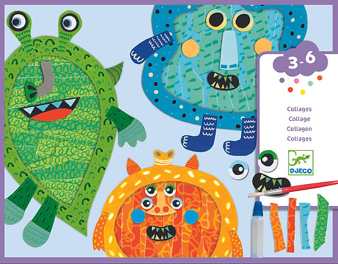DJECO - Happy monster - Tear and stick collage