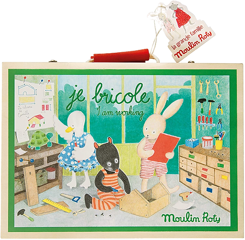 "Moulin Roty - ""I am working"" wooden tool valise"