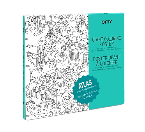 Omy - Giant Coloring Poster - WORLD MAP