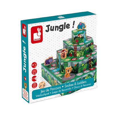 JANOD - Jungle racing board game - Card board and wooden game