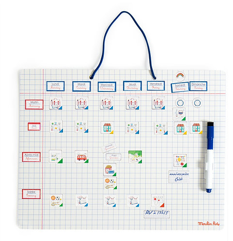 Moulin Roty -Magnetic weekly planner c'est mercredi