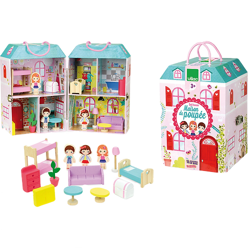 Vilac-Doll house in suitcase