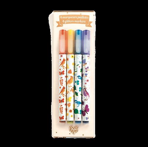 Djeco - 4 tinou glitter markers