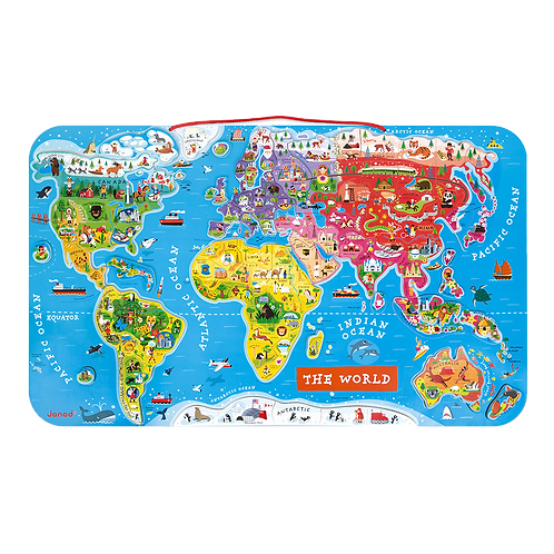 Janod - Magnetic world map puzzle - English - 92 pieces (wood)