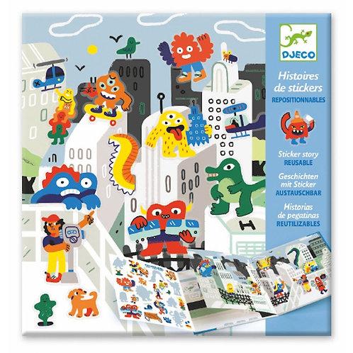 Djeco - PG Stickers Stories Monster Invas