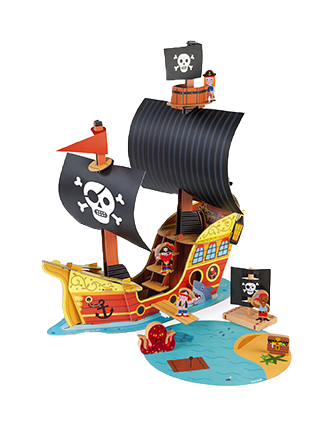 JANOD - Story pirate ship - Cardboard world to build - Cardboard and wooden toy