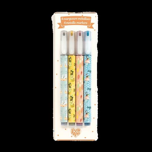 Djeco - 4 Elodie metallic markers