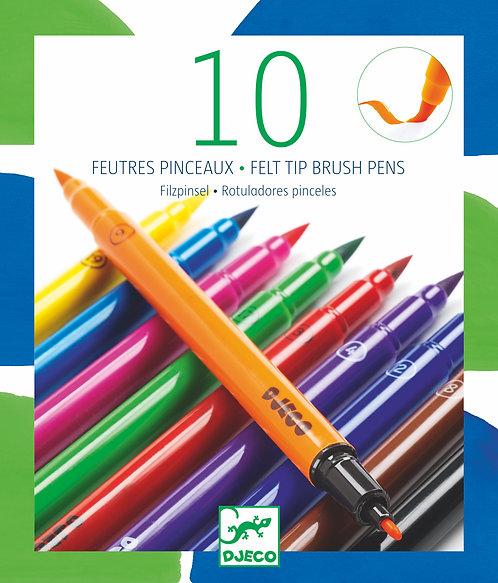 Djeco Felt Brushes, Classic - 10 Pieces