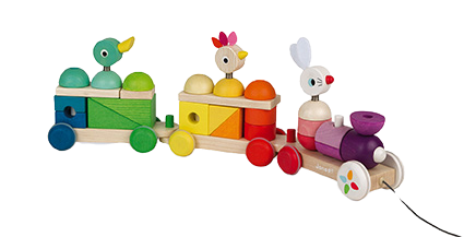JANOD - Zigolos giant multicolor train - Wooden toy
