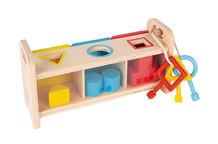 JANOD - Shape sorter box with keys - Plastic and wooden toys