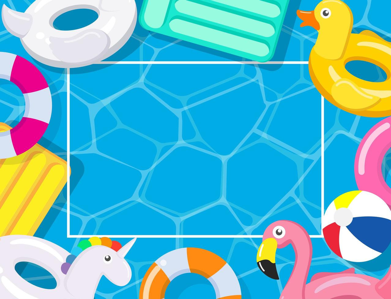 pool-party-frame-with-pool-floats-vector