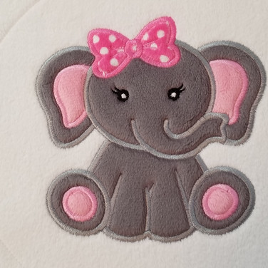 Zoo baby girl elephant with bow applique design by appliquetion station at etsy.com