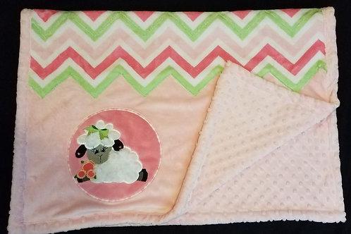 Pink Zig-Zag Baby Quilt