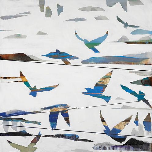 In Flight I abstract birds landscape