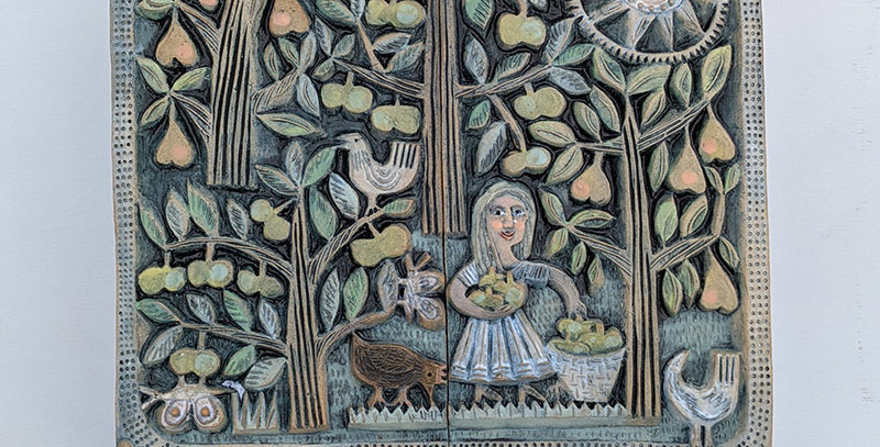 Orchard with Black Hen - ceramic relief diptych by Hilke MacIntyre
