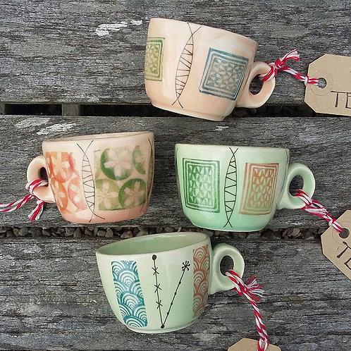 mid-century inspired espresso cups - by Tessuti Scotland