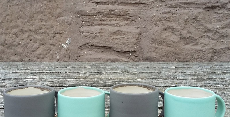 hand thrown stoneware espresso cups - by Emma Lacey