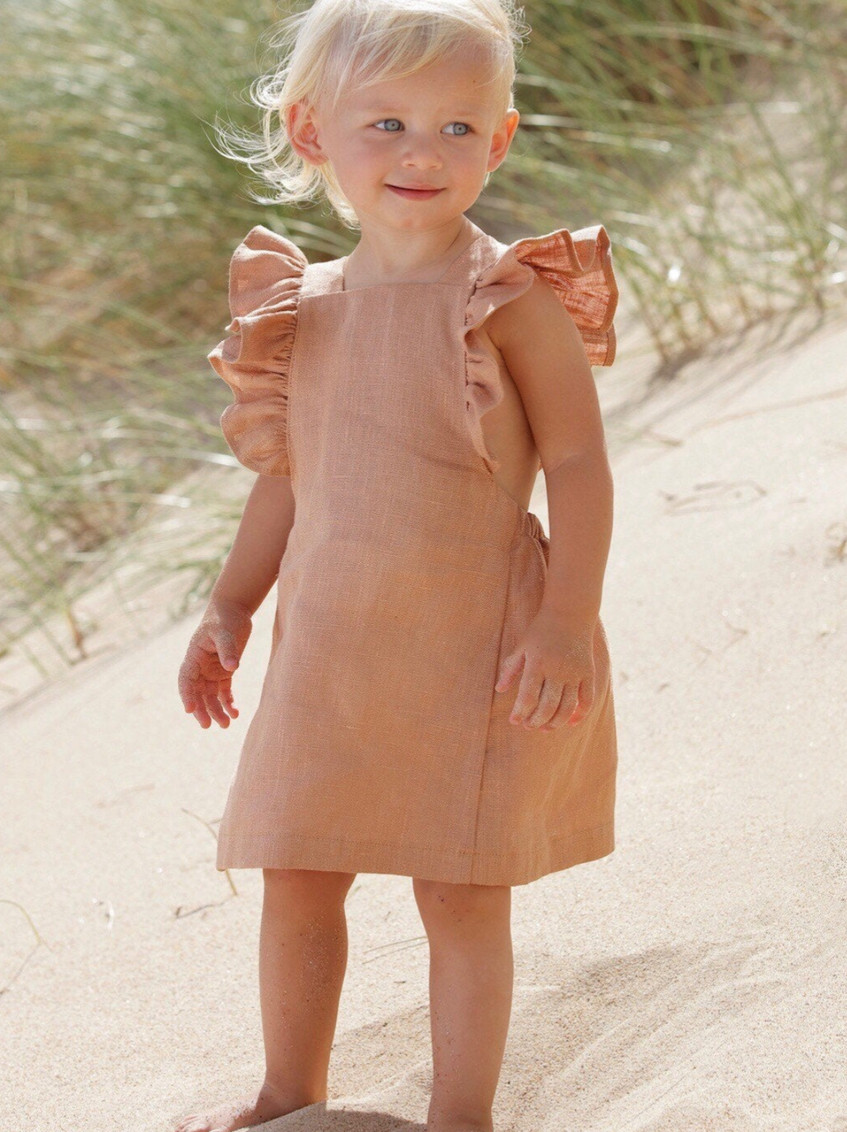 Handmade Kids Clothes Girls Boho Linen Ruffled Dress