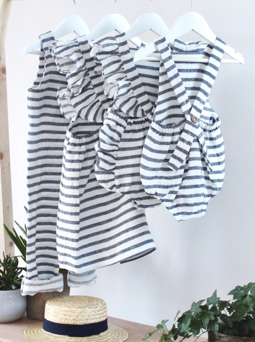 Handmade Baby Clothes Boho Linen Striped Baby Rompers & Dresses