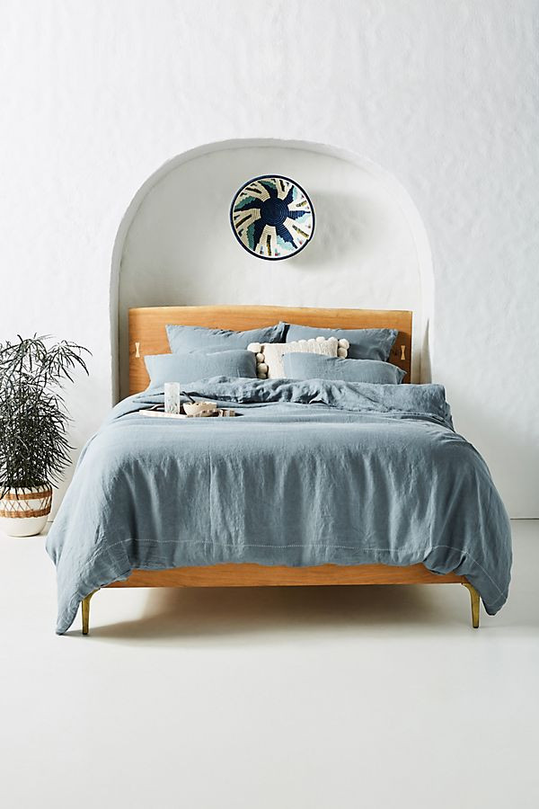 Stitched Linen Duvet Cover | Anthropologie