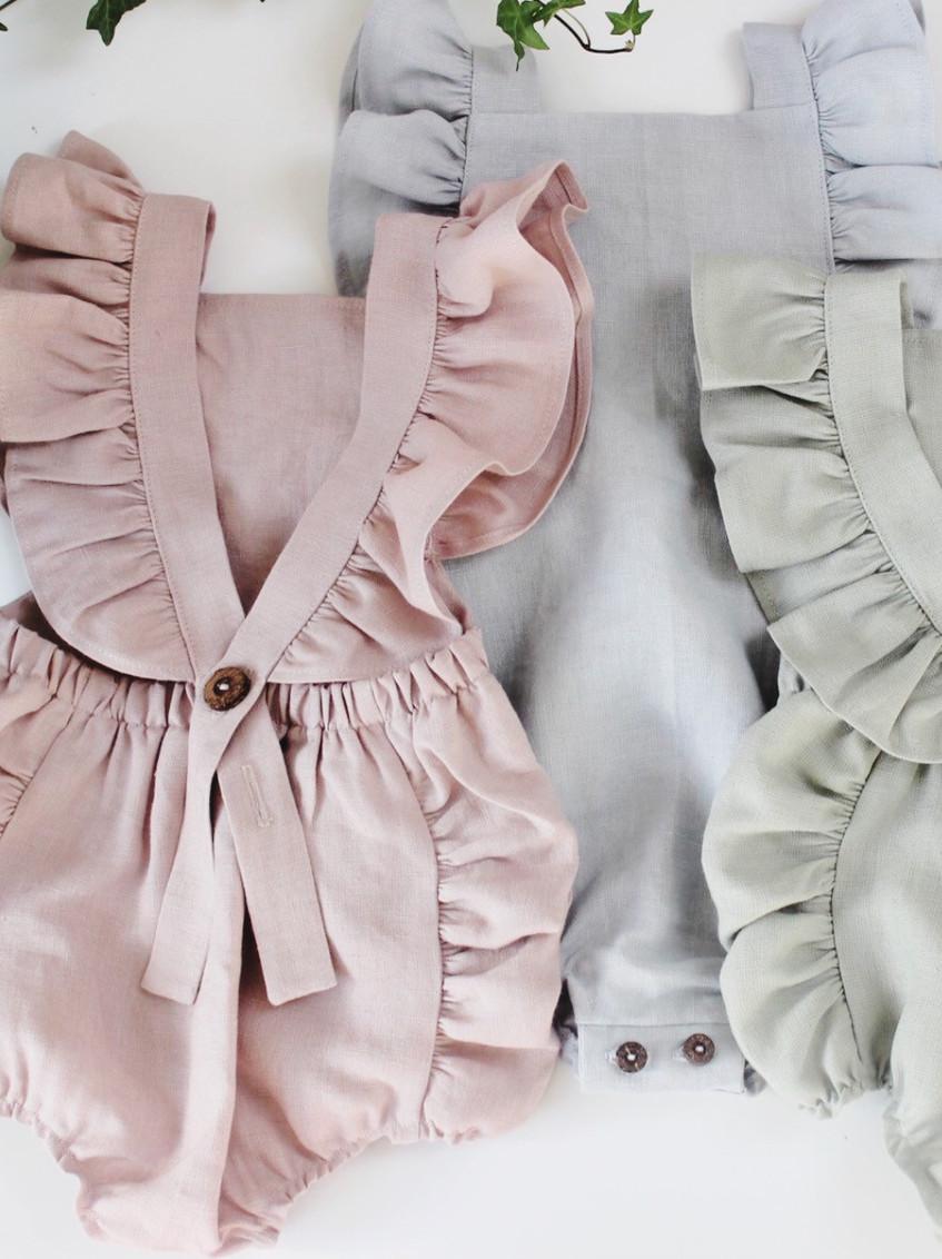 Handmade Baby Clothes Boho Linen Ruffled Baby Rompers